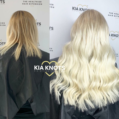 Hair extensions on platinum hair