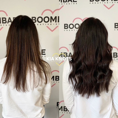 Half head of healthy hair extensions