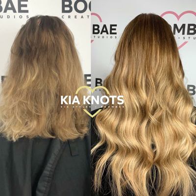Before & After Picture - Applying Hair Extensions